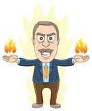 Businessman -  In Anger. Vector Illustration of a businessman is in anger with fire on his hands Royalty Free Stock Image