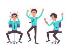 Businessman Angry Collection Vector Illustration royalty free illustration