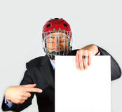 Businessman is angry about Contract. Etc - blank paper to be filled in by you Stock Photography