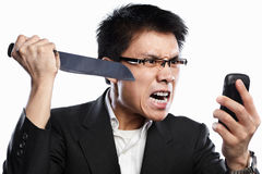 Businessman angry expression when using video call Royalty Free Stock Images
