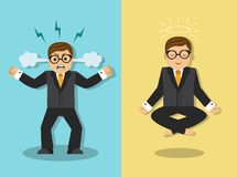 The businessman is angry and meditates Royalty Free Stock Images