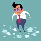 Businessman angry office work boss. Torn documents, a bad deal, bad day stock illustration