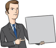 Businessman angry pointing at blank placard Stock Photos