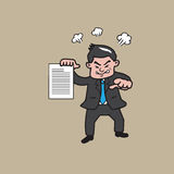 Businessman angry and pointing cartoon stock illustration