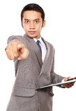 Businessman angry and pointing at something Stock Photos