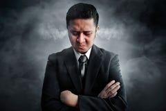 Businessman angry on smoke background Royalty Free Stock Photo