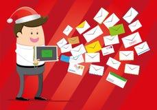 Businessman Announces Christmas Message royalty free illustration