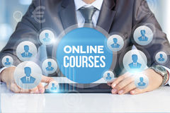 Businessman announces online course . Royalty Free Stock Images
