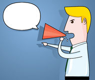 Businessman announcing through megaphone, business concept, vector Royalty Free Stock Images