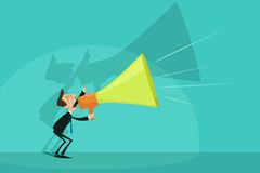 Businessman announcing through Megaphone. Easy to edit vector illustration of businessman announcing through megaphone royalty free illustration