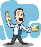 Businessman answering telephone. Vector illustration of Businessman answering telephone. Easy-edit layered vector EPS10 file scalable to any size without quality vector illustration