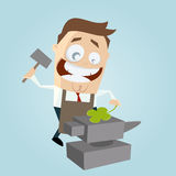 Businessman with anvil and four-leaf clover Royalty Free Stock Photography