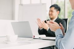 Businessman applauding after meeting Stock Images