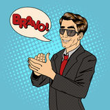 Businessman Applauds. Bubble Expression Bravo Stock Photography