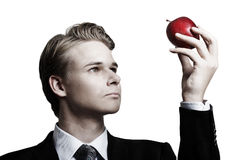 Businessman and apple Royalty Free Stock Photography