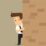 Businessman apprehensive, Hiding behind the wall Stock Photos