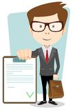 Businessman with the approved document Stock Images