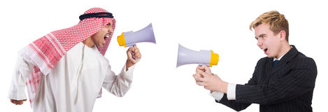 Businessman and arabian man speaking through Royalty Free Stock Photo