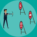 Businessman with arch chooting target for success. Vector Stock Photos