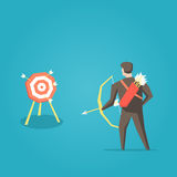 Businessman archer with bow, arrows and target vector illustration Royalty Free Stock Photo