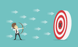 Businessman with archery arrow aiming target successful.Business. Young cartoon happiness of success concept is man character.View businessman emotions moving Stock Photography