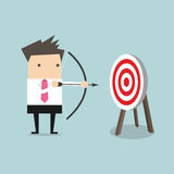 Businessman with archery bow Royalty Free Stock Photos