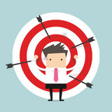 Businessman on archery targets Royalty Free Stock Photos