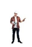 Businessman architect on white background. Businessman architect on isolated background stock photography