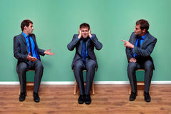 Businessman arguing with himself Royalty Free Stock Photo