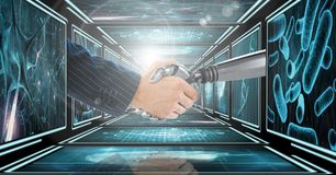 Businessman arm shaking hands with 3D robot arm in 3D corridor Stock Photo