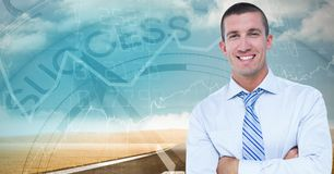 Businessman with arms crossed against success clock royalty free stock images