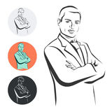 Businessman, arms crossed, vector illustration Royalty Free Stock Image