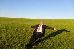 Businessman With Arms Outstretched On Chair In Grassy Field Stock Photography