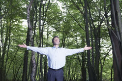 Businessman With Arms Outstretched In Forest Stock Image