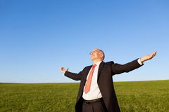 Businessman With Arms Outstretched Standing In Field Against Sky Stock Photos