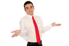 Businessman with arms raised. Confused businessman with arms raised Stock Images