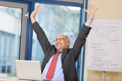 Businessman With Arms Raised Celebrating Victory Royalty Free Stock Photo