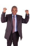 Businessman with arms raised isolated Royalty Free Stock Images