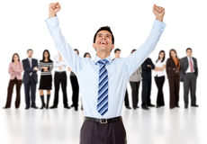 Businessman with arms up Stock Image
