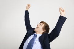 Businessman with arms up Royalty Free Stock Photography