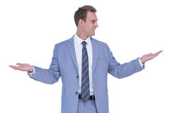 A businessman with arms up Stock Image