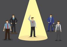 Businessman with arms up with a yellow spot light on him. Concep royalty free illustration