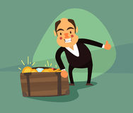 Businessman around the box with gold coins and precious stones Stock Photo