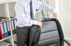 Businessman arriving at office Stock Image