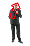 Businessman with arrow. Royalty Free Stock Image