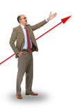 Businessman and arrow. The direction Stock Photo