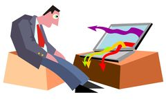 Businessman and arrows. Man and computer arrows crises stock illustration