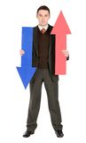 Businessman with arrows Royalty Free Stock Photos