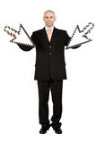 Businessman with arrows Royalty Free Stock Photography