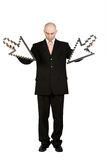 Businessman with arrows Royalty Free Stock Images